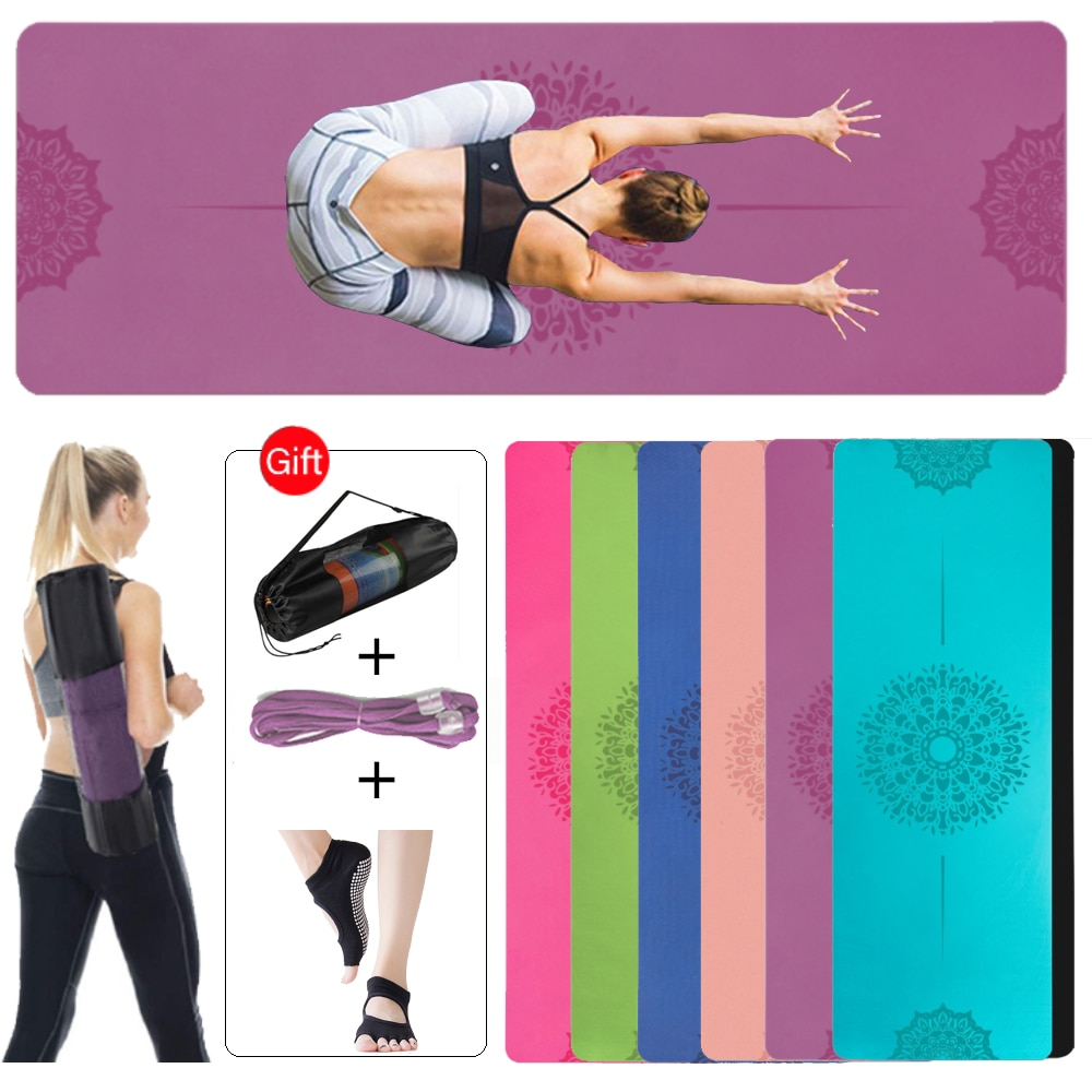 6mm TPE Non-slip Yoga Mat With Double Layer Pad